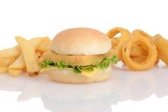 Los pescados intercalan con las patatas fritas y los anillos de cebolla Imágenes de archivo libres de regalías
