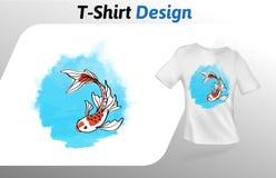 Los pescados lindos con la camiseta subacuática larga de la natación de aletas imprimen Mofa encima de la plantilla del diseño de stock de ilustración