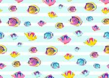 Los pescados modelan el ejemplo inconsútil del vector Fondo sin fin del océano del mar del color de la historieta para la impresi ilustración del vector
