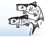 Los pescados saltan stock de ilustración