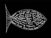 Los pescados siluetean con nombres de platos internacionales Imágenes de archivo libres de regalías