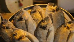 Los pescados vendieron en el mercado georgiano local de los mariscos, turismo culinario, cocinando y comiendo metrajes