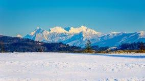 Los picos nevados de la montaña de oro de los oídos detrás de la ciudad del fuerte Langley en Fraser Valley Fotos de archivo