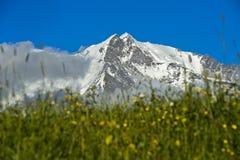 Los picos nevados del macizo de Mont Blanc imagenes de archivo