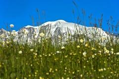 Los picos nevados del macizo de Mont Blanc imagen de archivo libre de regalías