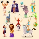 Los pictogramas del vintage del circo fijaron el arreglo stock de ilustración
