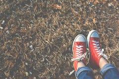 Los pies de zapatilla de deporte roja una muchacha en naturaleza y relajan tiempo Fotos de archivo