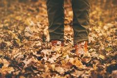 Los pies de zapatillas de deporte que caminan el caída se van al aire libre Foto de archivo libre de regalías