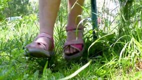 Los pies del bebé en sandalias rosadas se cierran para arriba