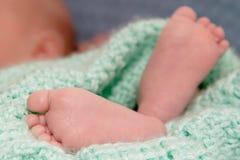 Los pies del bebé para arriba se cierran Imagen de archivo libre de regalías