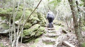 Los pies del peregrino en los pasos de piedra a lo largo de la pista de senderismo almacen de video
