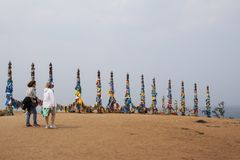 Los pilares tradicionales legendarios en un lugar sagrado - haga un deseo fotografía de archivo libre de regalías