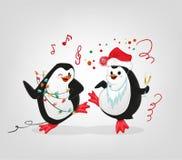 Los pingüinos de la celebración del Año Nuevo van de fiesta caracteres ilustración del vector