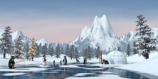 Los pingüinos en una montaña nevosa de la Navidad ajardinan, 3d rinden Imagenes de archivo