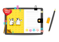 Los pingüinos yo y de la mamá con amor amarillean el cuaderno Imagen de archivo libre de regalías
