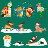 Los pingüinos determinados de Polo Norte de las vacaciones de invierno de los animales del ejemplo presentan y sledding abajo de  Imagen de archivo libre de regalías