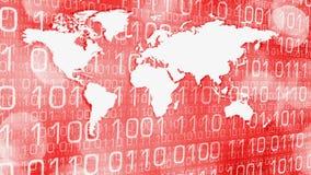 Los piratas informáticos atacan el papel pintado animado del mundo binario stock de ilustración