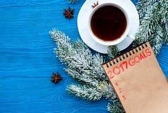 Los planes por Año Nuevo en espacio en blanco abren la opinión superior del cuaderno Foto de archivo