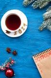 Los planes por Año Nuevo en espacio en blanco abren la opinión superior del cuaderno Fotografía de archivo libre de regalías
