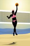 Los playes del voleibol de playa rompen la bola delante de la red stock de ilustración