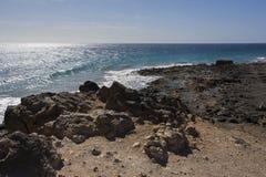 Los pocillos beach peurto de carmen lanzarote. Looking along los pocillos beach peurto del Carmen Lanzarote canary islands on a bright clear cloudless day in Stock Images