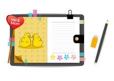 Los pollos yo y de la mamá con amor amarillean el cuaderno Fotografía de archivo libre de regalías