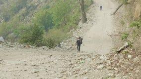 Los porteros con las mochilas pesadas en el circuito de la montaña de Manaslu emigran en Nepal almacen de metraje de vídeo