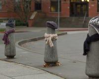 Los posts se vistieron correctamente para el invierno en Seattle, Washington 8 Foto de archivo
