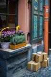 Los potes y la cesta con otoño florece en alféizar al aire libre fotos de archivo
