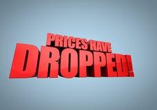 Los precios han caído Fotos de archivo libres de regalías