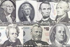 Los presidentes americanos fijaron el retrato en billete de dólar imagen de archivo libre de regalías