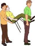 Los primeros auxilios - lleve a la mujer herida en silla ilustración del vector