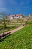 Los primeros rayos de la sol en la ciudad vieja hermosa de schmalkalden imagen de archivo libre de regalías