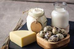 Los productos agrícolas de Eco ordeñan, queso, crema agria, yogur, huevos en fondo de madera oscuro El concepto de hogar hizo la  Foto de archivo