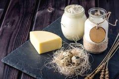 Los productos agrícolas de Eco ordeñan, queso, crema agria, yogur, huevos en fondo de madera oscuro El concepto de hogar hizo la  Fotos de archivo