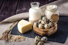 Los productos agrícolas de Eco ordeñan, queso, crema agria, yogur, huevos en fondo de madera oscuro El concepto de hogar hizo la  Imagen de archivo