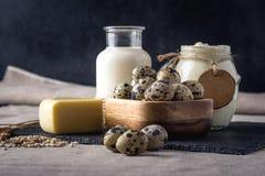 Los productos agrícolas de Eco ordeñan, queso, crema agria, yogur, huevos en fondo de madera oscuro El concepto de hogar hizo la  Fotos de archivo libres de regalías