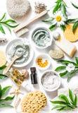 Los productos de belleza caseros - arcilla, harina de avena, aceite de coco, cúrcuma, limón, friegan, secan las flores y las hier fotos de archivo