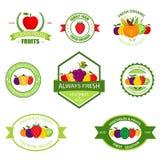 Los productos de la agricultura biológica vector las etiquetas, emblemas, insignias, logotipos, etiquetas engomadas fijadas stock de ilustración