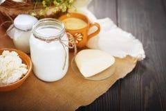 Los productos lácteos clasificados ordeñan, yogur, requesón, crema agria Aún vida rústica Fotografía de archivo libre de regalías