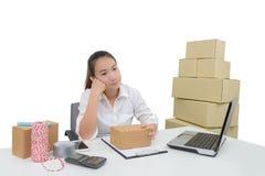 Los propietarios de negocio tienen dolores de cabeza debido a problemas del producto fotografía de archivo