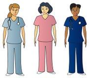 Los pros femeninos de la salud adentro friegan Imágenes de archivo libres de regalías
