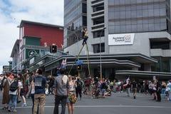 Los protestors antis-TPPA en Auckland Fotos de archivo