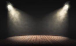 Los proyectores iluminan la etapa vacía con el fondo oscuro rende 3D ilustración del vector
