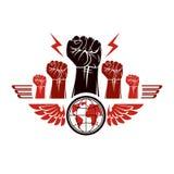 Los puños apretados de la gente enojada se fueron volando ingenio compuesto emblema del vector libre illustration