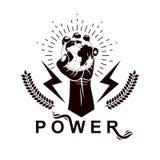 Los puños apretados de la gente enojada vector el emblema compuesto con tierra stock de ilustración