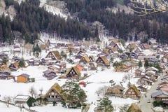 Los pueblos históricos de Shirakawa-van en el invierno, un mundo Cultur imagen de archivo