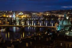 Los puentes de Praga Imágenes de archivo libres de regalías