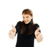Los pulgares de la demostración del adolescente suben gesto Fotografía de archivo