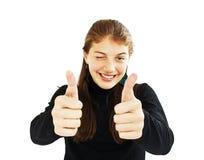 Los pulgares de la demostración del adolescente suben gesto Imagen de archivo libre de regalías